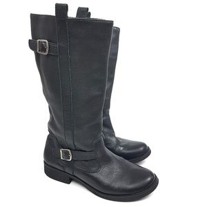Genuine Black Leather Biker Boots